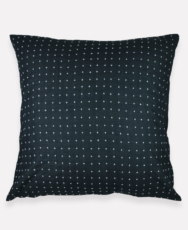 "Anchal Project 26"" Charcoal Cross-Stitch Embroidered Euro Sham Anchal Project Pillow Cover"