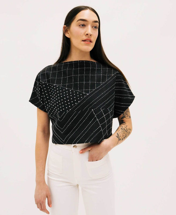 Anchal Project Organic Box Crop Top - Charcoal Clothing Anchal Project