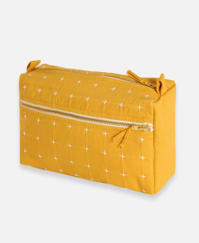 Anchal Project Organic Cross-stitch Toiletry Bag Accessories Anchal Project Mustard
