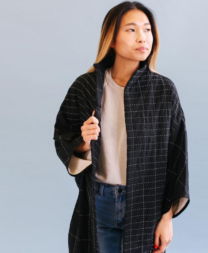 Anchal Project Quilted Cocoon Jacket - Charcoal Anchal Project