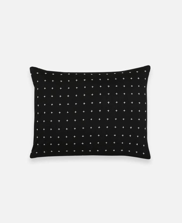 Anchal Project Small Cross-Stitch Throw Pillow - Charcoal Made Trade