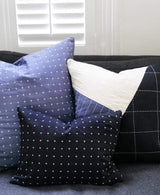 Anchal Project Small Cross-Stitch Throw Pillow - Charcoal Made Trade-13444446584895