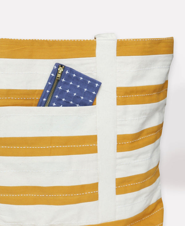 Anchal Project Stripe Canvas Tote Bag - Mustard Anchal Project