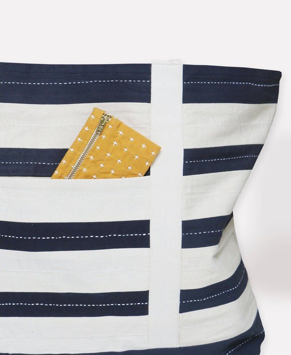 Anchal Project Stripe Canvas Tote Bag - Navy Anchal Project