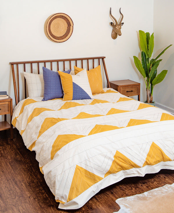 Anchal Project Triangle Duvet Cover - Mustard Bedding Anchal Project