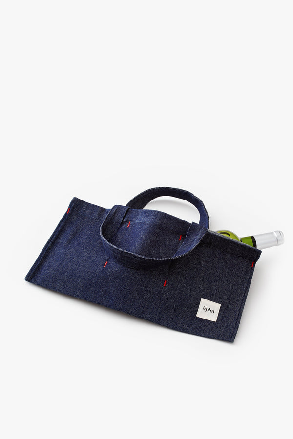 Aplat Vin One Bottle Tote | Denim Wine Tote Aplat