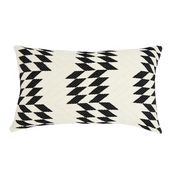 "Archive New York Almolonga Quilt Pillow - Black & Natural White - 12"" x 20"" Archive New York"