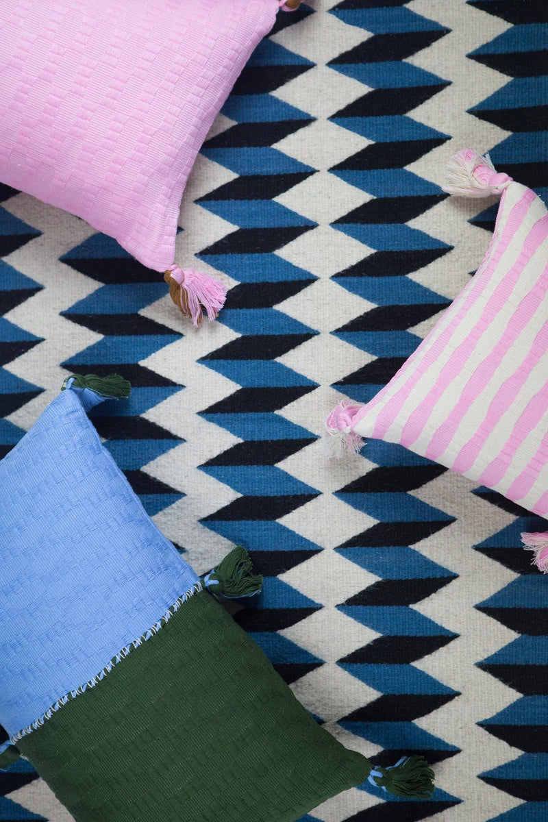 Archive New York Antigua Pillow - Baby Blue & Olive Colorblocked Archive New York