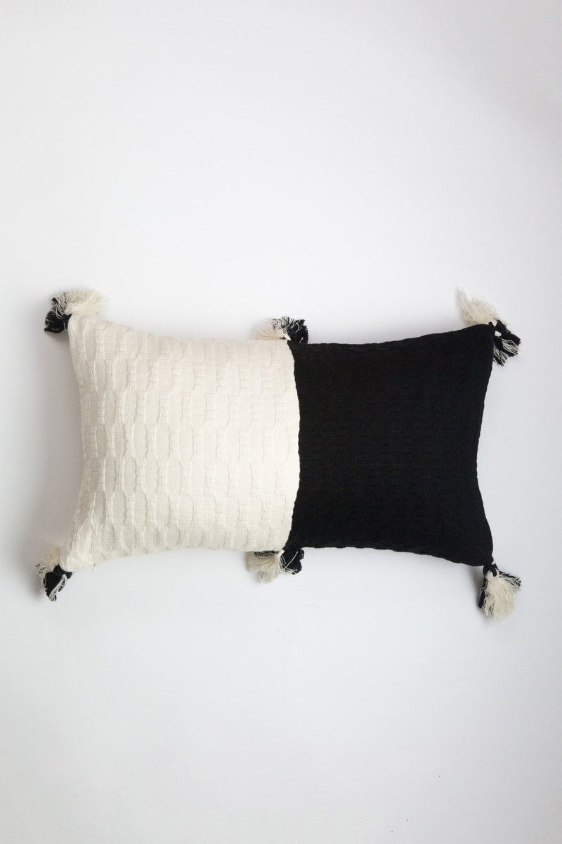 Archive New York Antigua Pillow - Black & Natural White Colorblocked Archive New York