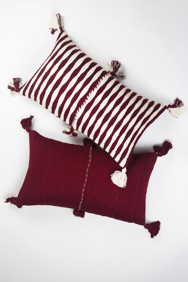 Archive New York Backordered: Antigua Pillow - Burgundy Solid Archive New York