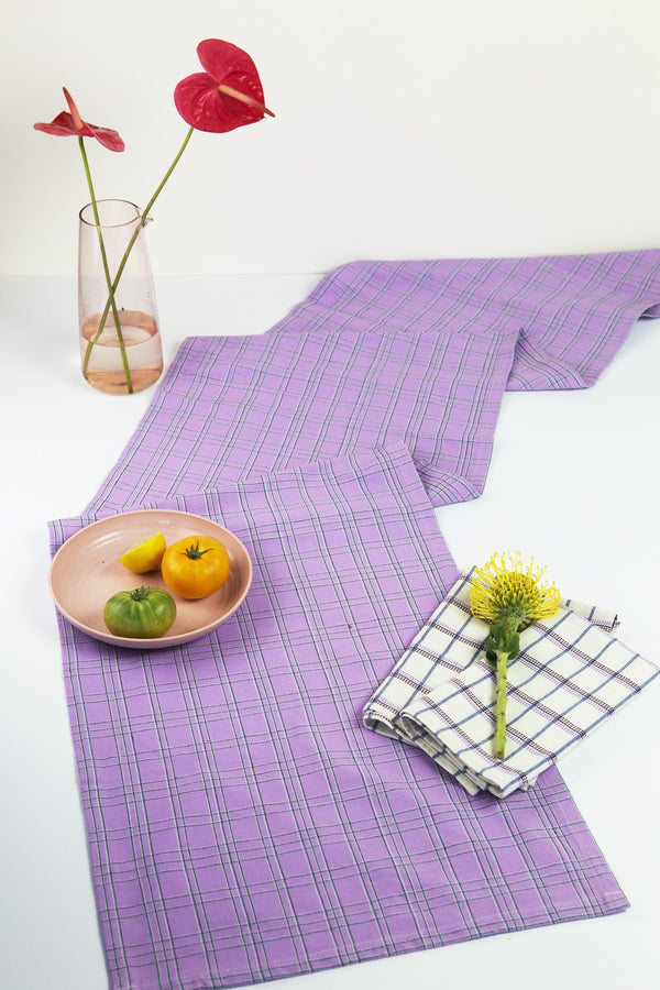 Archive New York Chiapas Plaid Lilac Table Runner Kitchen Archive New York