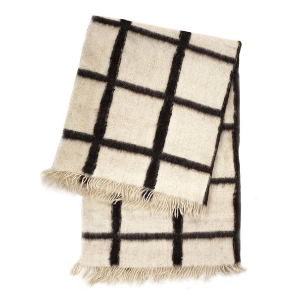 Archive New York Momos Grid Blanket-Rug - Natural White & Black Archive New York