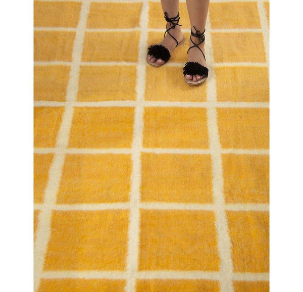 Archive New York Momos Grid Blanket-Rug - Natural White & Yellow Gold Archive New York