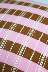 "Archive New York Santiago Grid Pillow - Baby Pink & Umber - 18""x18"" Archive New York -13135205728319"