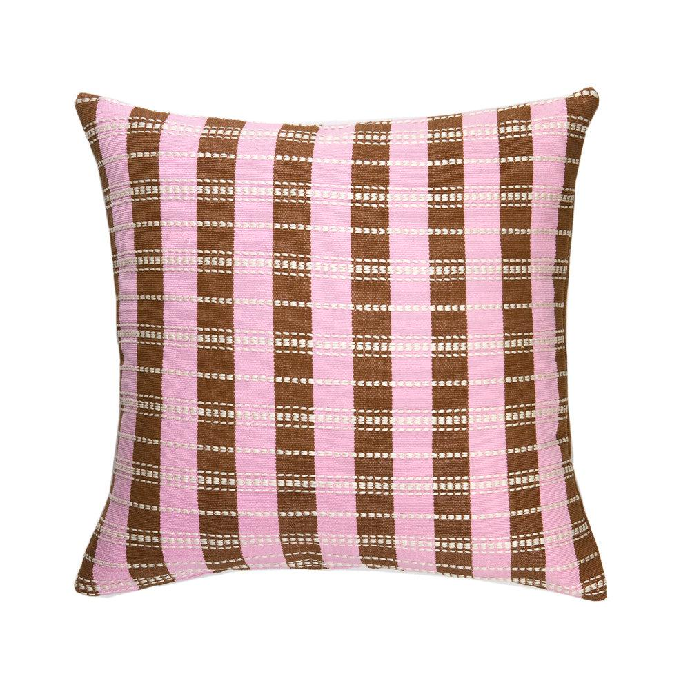"Archive New York Santiago Grid Pillow - Baby Pink & Umber - 18""x18"" Archive New York"
