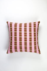 "Archive New York Santiago Grid Pillow - Baby Pink & Umber - 18""x18"" Archive New York -13135155265599"