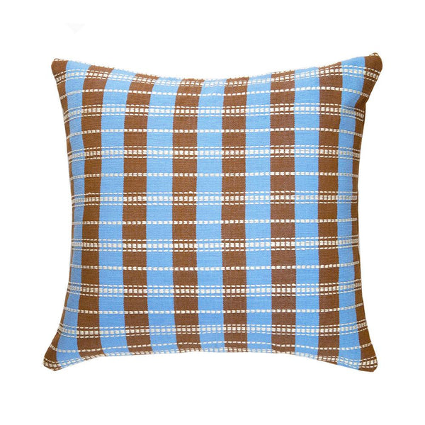 "Archive New York Santiago Grid Pillow - Blue & Umber - 18""x18"" Archive New York"