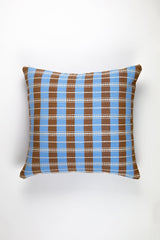 "Archive New York Santiago Grid Pillow - Blue & Umber - 18""x18"" Archive New York -13135235350591"