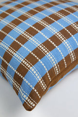 "Archive New York Santiago Grid Pillow - Blue & Umber - 18""x18"" Archive New York -13135131738175"