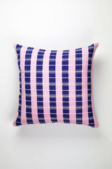 "Archive New York Santiago Grid Pillow - Royal & Baby Pink - 18""x18"" Archive New York -13135222177855"