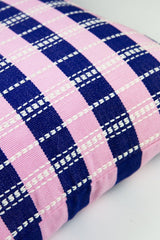 "Archive New York Santiago Grid Pillow - Royal & Baby Pink - 18""x18"" Archive New York -13135087140927"