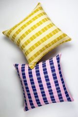 "Archive New York Santiago Grid Pillow - Royal & Baby Pink - 18""x18"" Archive New York -13135153266751"