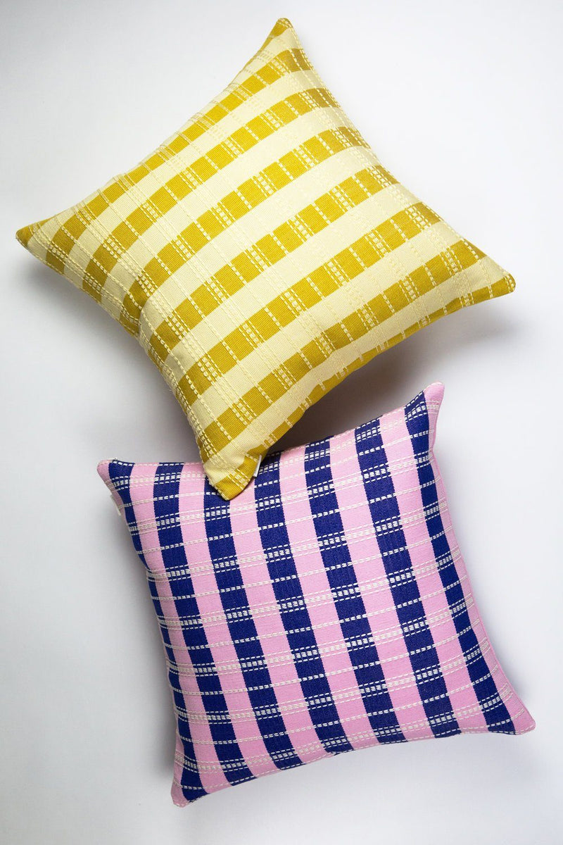 "Archive New York Santiago Grid Pillow - Royal & Baby Pink - 18""x18"" Archive New York"