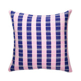 "Archive New York Santiago Grid Pillow - Royal & Baby Pink - 18""x18"" Archive New York -13135221784639"