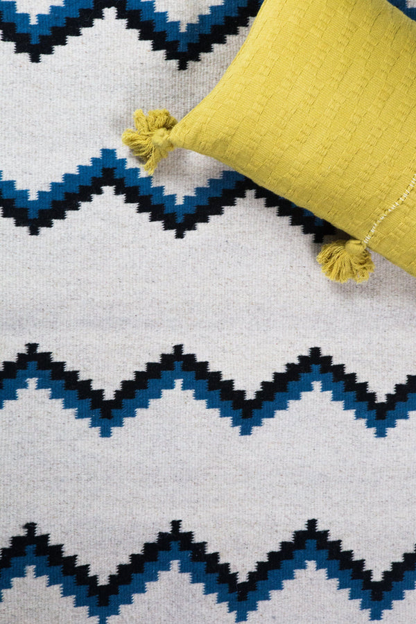Archive New York Zapotec Blue & Black Zig Zag Rug #6 Archive New York