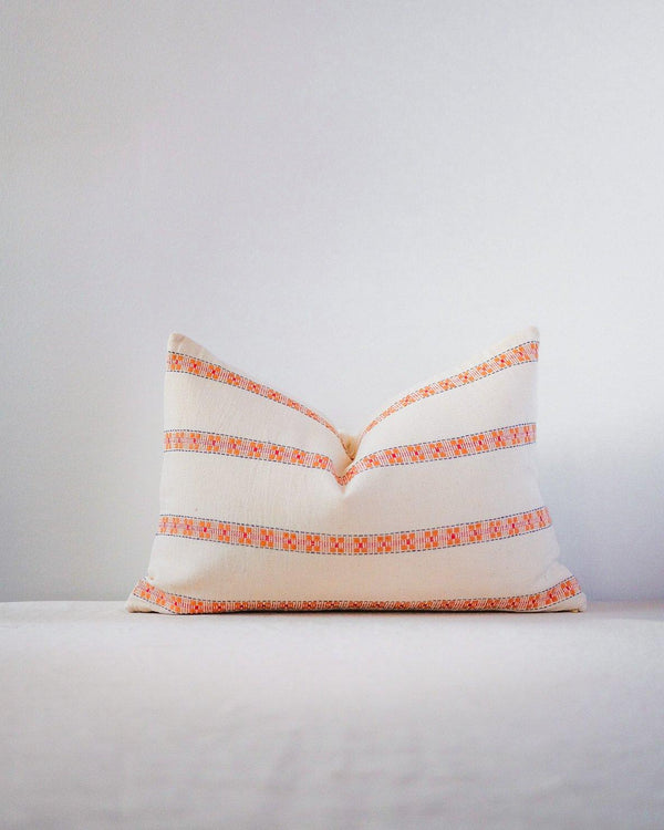 Asima Organic Cotton Throw Pillow Cover - Orange and Cream Home Decor Soil to Studio