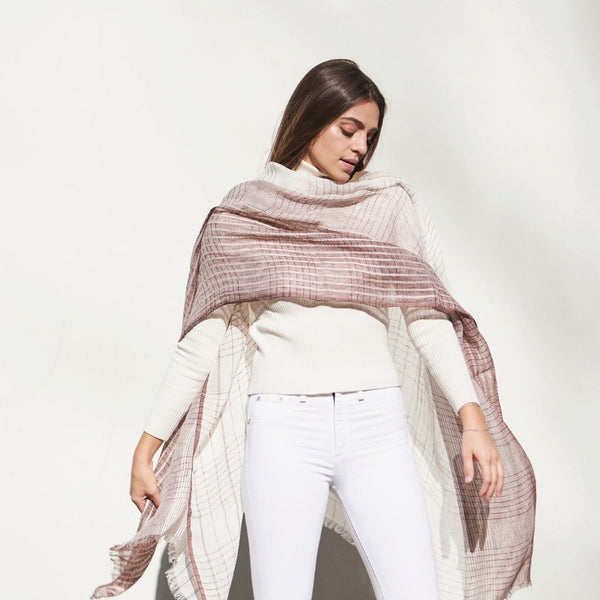 Auro Linen Scarf - White Studio Variously