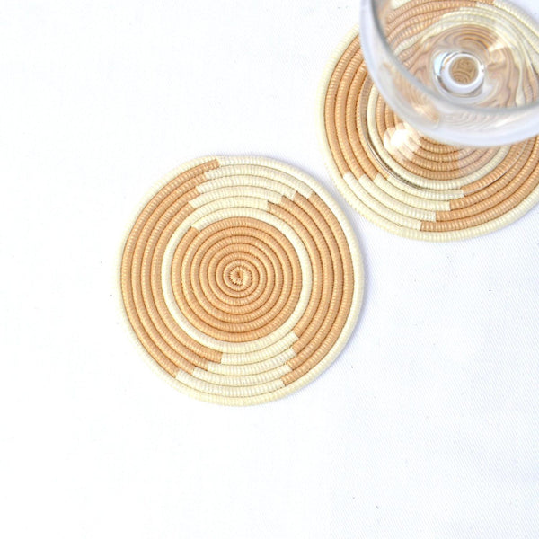Azizi Life Hand Woven Coasters Tea & Natural White Home Azizi Life