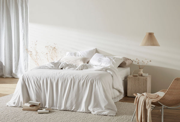 Bamboo Lyocell Duvet Cover - Feather White Bedding and Bath Ettitude