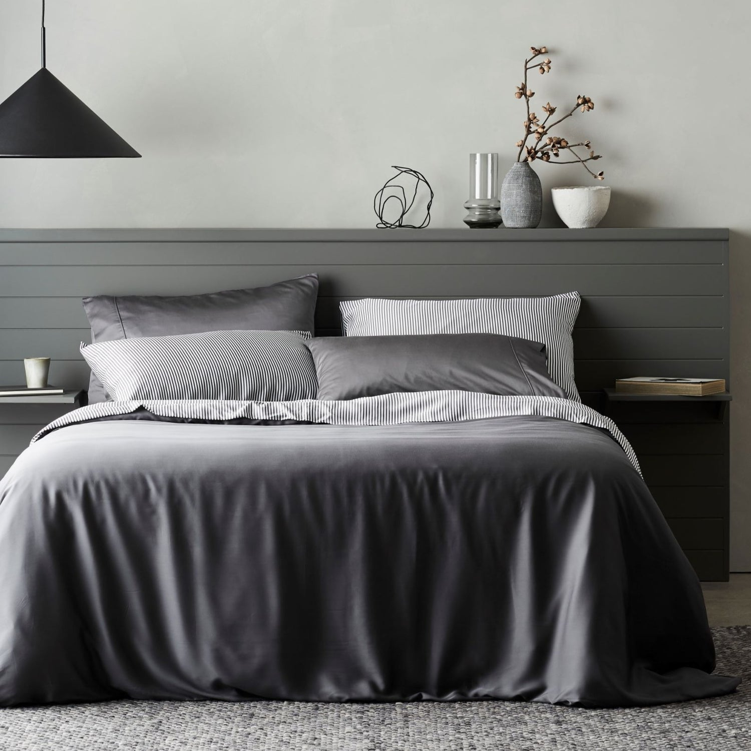 Bamboo Lyocell Duvet Cover - Gray Bedding and Bath Ettitude