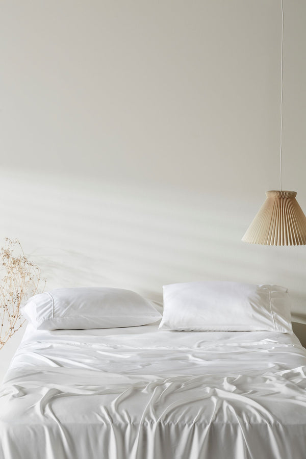 Bamboo Lyocell Fitted Sheet - Feather White Bedding and Bath Ettitude