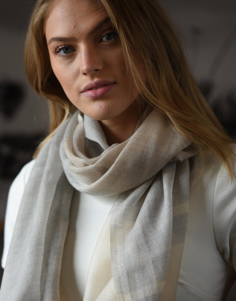 Bloom & Give Alice Cashmere Scarf - Ivory Scarves Bloom & Give