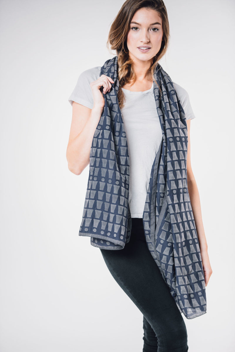 Bloom & Give Bari Navy Silk Cotton Scarf Scarves Bloom & Give