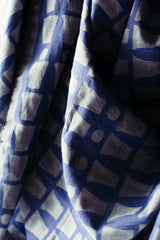 Bloom & Give Bari Navy Silk Cotton Scarf Scarves Bloom & Give-5244390080575