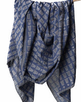 Bloom & Give Bari Navy Silk Cotton Scarf Scarves Bloom & Give-5244330475583