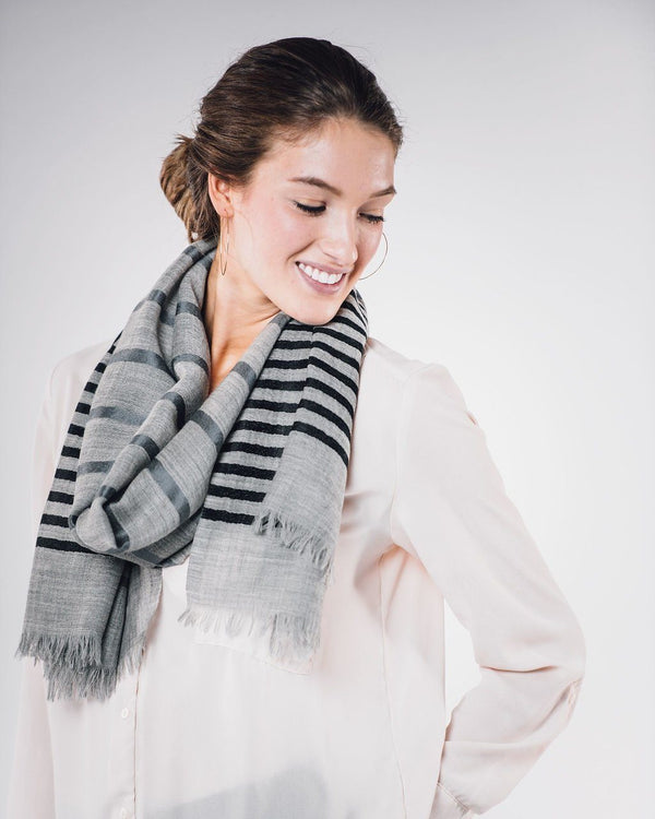 Bloom & Give Bella Woolen Scarf - Gray Scarves Bloom & Give