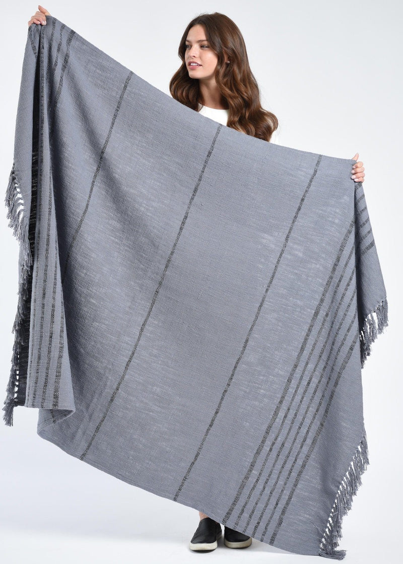 Bloom & Give Duka Throw/Blanket - Gray Throws Bloom & Give