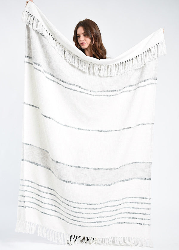 Bloom & Give Duka Throw/Blanket - Ivory Throws Bloom & Give