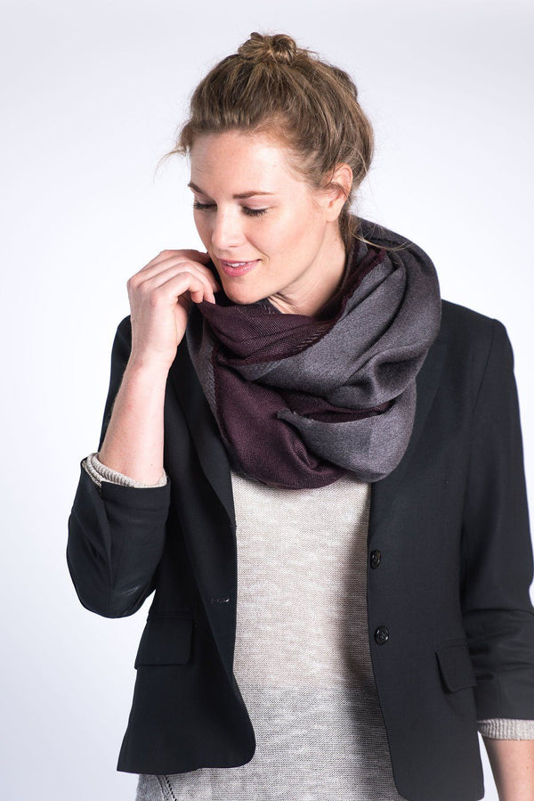 Bloom & Give Eden Reversible Scarf - Burgundy Scarves Bloom & Give