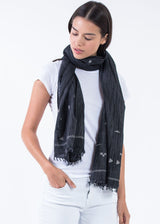 Bloom & Give Gaya Scarf - Charcoal Scarves Bloom & Give-5244384346175