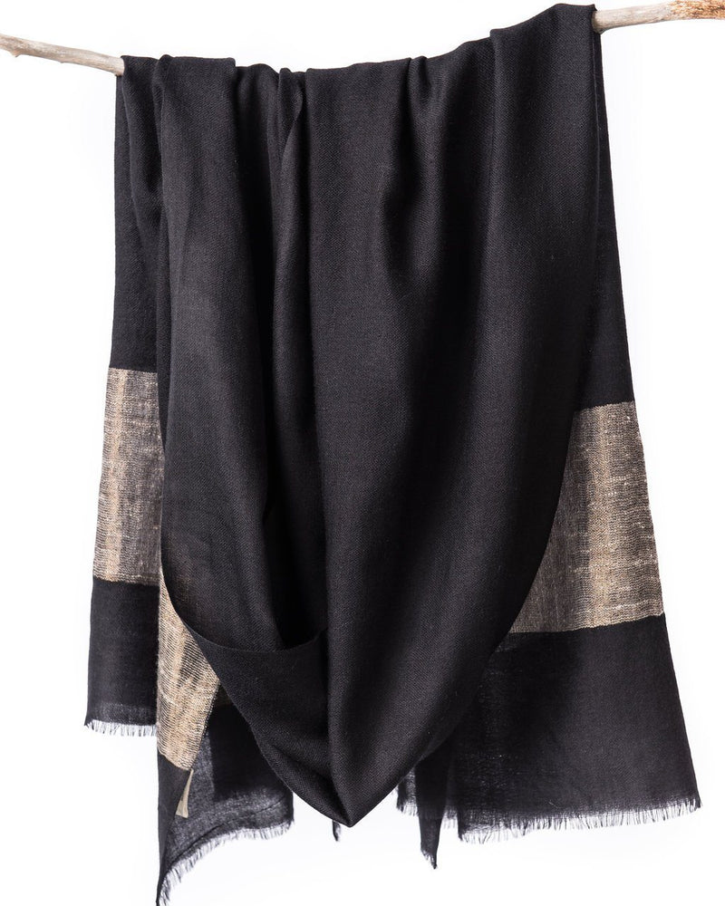 Bloom & Give Heirloom Cashmere Scarf - Black Scarves Bloom & Give