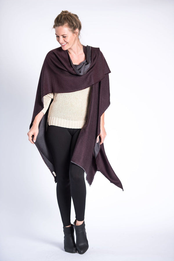 Bloom & Give Lara Reversible Wrap - Burgundy Scarves Bloom & Give