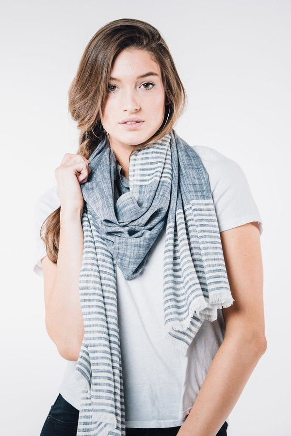 Bloom & Give Malabar Blue Cotton Scarf Scarves Bloom & Give