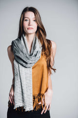 Bloom & Give Malabar Gray Cotton Scarf Scarves Bloom & Give -15675135492159