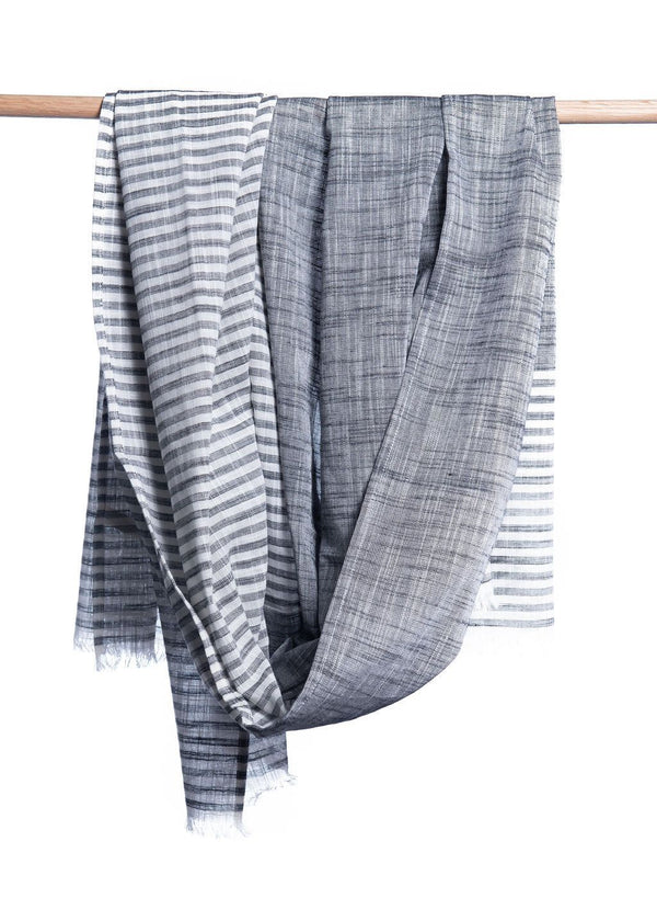Bloom & Give Malabar Gray Cotton Scarf Scarves Bloom & Give