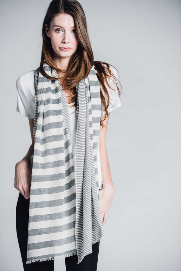 Bloom & Give Sagar Gray Cotton Scarf Scarves Bloom & Give